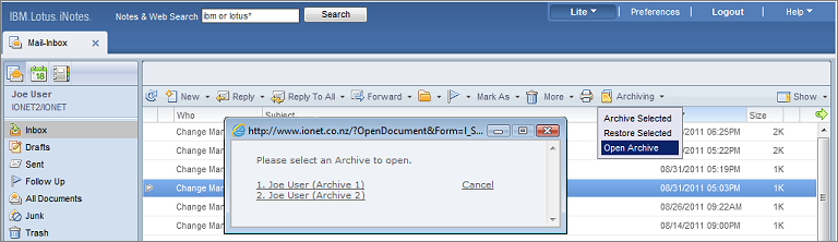 Archive Options iNotes